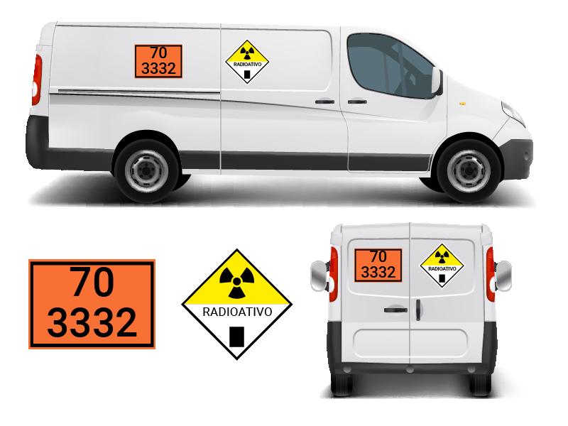 Ilustração de transporte de material radioativo (veículo com trifólio)